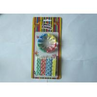China Birthday Celebration Colored Pillar Candles Striped 12 Pcs Per Set With Holders on sale