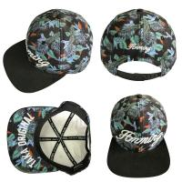 Quality Dark Green Leaf 5 Panel Camper Hat With Logo Printed Korean Style for sale