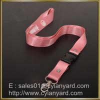 Best Pink Nylon lanyard for ID badge holder, nylon neck ribbon with detachable buckle wholesale