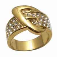 Buy cheap Brass Ring/Fashionable Jewelry, Fancy Design, Decorated with Rhinestones from wholesalers