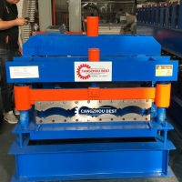 China Building 0.3-0.8mm Roof Tile Roll Forming Machine for sale