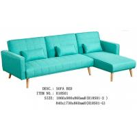 China Elegant Pure Foam Fabric Sofa Bed Solid Wood Legs Green Bright Colour on sale