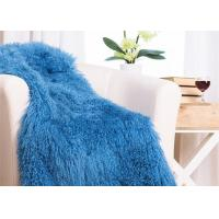 China 48 X 72 Inches Large Authentic Mongolian Lamb Fur Blanket , Home Style Lambskin Rug on sale