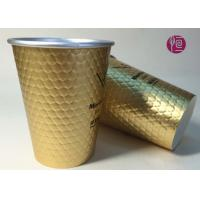 China 12oz Diamond Shape Ripple Wall In Double Wall Layer Paper Cup With Lid on sale