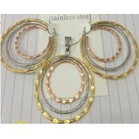 Quality Cheap Costume Jewelry Three Color Fashion 316L Stainless Steel Jewelry Sets for Women for sale