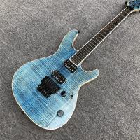 China Light blue Quilted Flame Maple Mayones Electric Guitar,2019 New S logo Neck through body 6 Strings Guitar on sale
