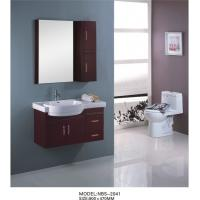 China Marble countertop bathroom vanity  90 X 47 / cm , custom made bathroom cabinets dark red color on sale