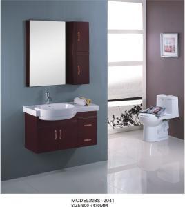 China Marble countertop bathroom vanity  90 X 47 / cm , custom made bathroom cabinets dark red color on sale