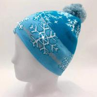 Buy cheap Breathable Knitted LED Lamp Cap / White Snowflake Christmas Hat from wholesalers