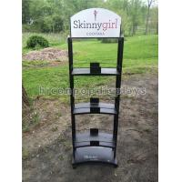 Quality 3 Layer Wine Display Stand Free Standing Custom Metal Liquor Display Shelves for sale