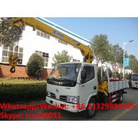 Quality Customized wholesale best price dongfeng 4*2 LHD 2tons telescopic boom mounted on cargo truck for sale, truck with crane for sale