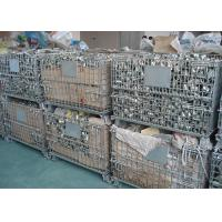 Best Galvanized Wire Mesh Pallet Cage , Stackable Collapsible Pallet Cages Foldable wholesale