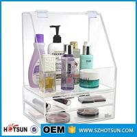 Best Diamond Handle Clear Acrylic Makeup Organizer, Acrylic Makeup Drawer Box, Flip Cover Acrylic Cosmetic Storage Boxes wholesale