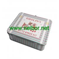 Quality Large Silver Tin Lunch Box with clear window for sale