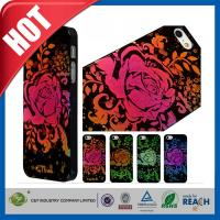Quality Lady Red Glitter Flowers Plastic Luxury Apple Cell Phone Cases Back Covers For Iphone 5 / 5S for sale