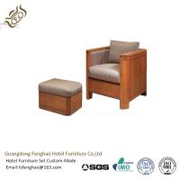 Quality Antique Oak Wood Rattan Frame Upholstered Chair With Ottoman / High Density Foam for sale