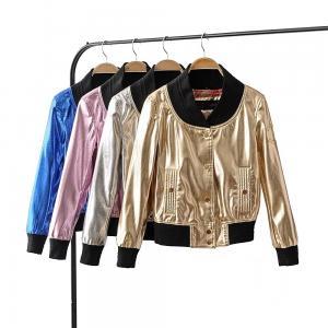 China Stylish Metallic Bomber Jacket Womens , Gold Nylon Jacket Zipper Closure on sale