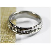 Quality Engagement 5mm Zircon Crystal Jewelry Stainless Steel Ring For Girls for sale