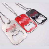 China Stainless Steel Dog Tag Bottle Opener with Ball Chain, Printed Logo on sale
