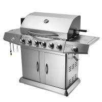 China 6 Burners Lava Rock Outdoor Rotisserie Gas Barbecue Grill Spit Roaster With Motor on sale