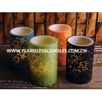 Flameless 2 Layer Carved LED Pillar Candles , Safety Colorful Unique Design LED Candles