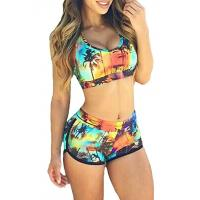 China High Stretched Womens Swimming Suits Two Piece Swimwear 82% Nylon 18% Spandex on sale
