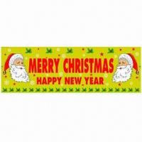 China 30.5 cm x 1.82 meters Merry Christmas Banner with Unique Design, Made of Metallic PVC Film on sale