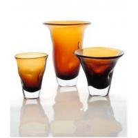 Quality Amber Decorative Glass Vase For Interior Decoration, Handmade and Innovative Design for sale