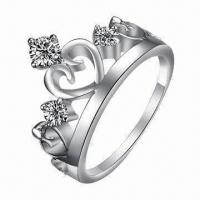 Buy cheap Brass Ring with CZ Stone and Rhodium Plating from wholesalers