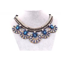 Quality Fashion Popular Collar Necklace Blue&Black Woven&Alloy&Crystal 2014 New Design For Clothes for sale