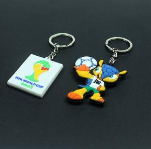 Quality 2014 Brazil the world cup emblem mascot souvenir emblem ornament armadillo plastic key chain key ring for sale