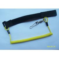 China Window Cleaning Coiled Spiral Safety Tool Lanyards Yellow With Velcro / Swivel Link on sale