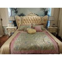 China Comfortable Big King Bed Leather Upholstered Headboard Handmade Carved Pattern on sale