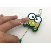 Quality Cartoon frog animal shape retractable pvc wrap badge reels custom with key chains for sale