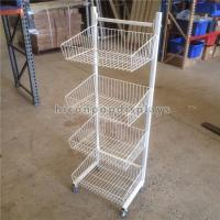 China Metal Wire Display Stand Free Standing With 4 - Layer Basket Holder / 4 Caster on sale