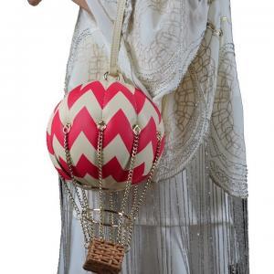 China Check hot air balloon creative decorative chain handbag leather clutch female on sale