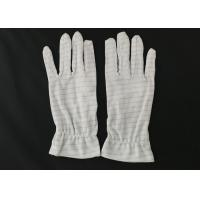 Buy White Color Stripes Anti Static Gloves 100% Polyester Material For Repairing at wholesale prices