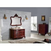 China Dark Color Classic Bathroom Cabinets Water Proof Solid Wood Hotel Funiture on sale