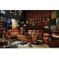 Quality Modern Brown Leather Sectional Sofas , Tan Soft Leather CouchHigh Back Cushion for sale