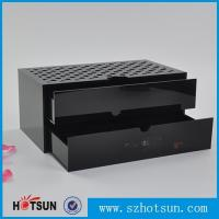 Best Custom made acrylic storage box cost-effective black acrylic box with two drawer wholesale