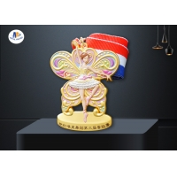 Dancing Medal In 3D Effect Colors Painting for Dancing Girl With Woven Ribbon for sale