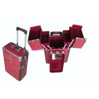 China Red Fireproof Aluminum Trolley Suitcase / Aluminum Makeup Case With Mirror on sale