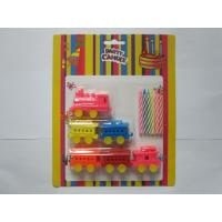 China 6 Pcs Colour Mixture Multi Colored Candles Add 6pcs Train Shaped Toy Party Candles on sale
