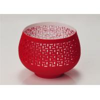 Best Red Votive Porcelain Candle Holder Bowl / Hollow Ceramic Candle Houses wholesale