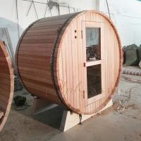 Quality Red Ceder Barrel Shaped Sauna With Electrical Harvia Sauna Heater Or Burning Stove for sale