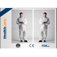 Hooded Disposable Boiler Suits Waterproof Overalls Non Woven 15gram -60gram