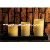Best Flameless LED Pillar Candles Set With Rock And Wooden Tray wholesale