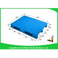 China 1200 * 800mm Blue Plastic Pallets With Three Runners , Plastic Skids Pallets Virgin HDPE on sale