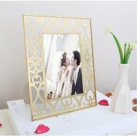 Quality Elegant European Style Brass And Glass Picture Frame Desk Top Display for sale