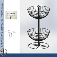 China Wire Basket Counter with sign holder / Metal Display Rack with wire baskets for brand gifts / POP display stand on sale
